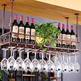 Wine Rack - Antike Schmiedeeisen-Weinregal Für Den Haushalt, Deckenmontage, Höhenverstellbarer Getränkehalter (Farbe : Bronze, größe : 120cm*25cm(Hanging 24))