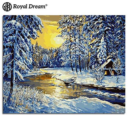 zlhcich Vier Jahreszeiten Baum Landschaft Ölgemälde Sibirischer Winter 40 * 50cm - Einziges Vier-poster-bett
