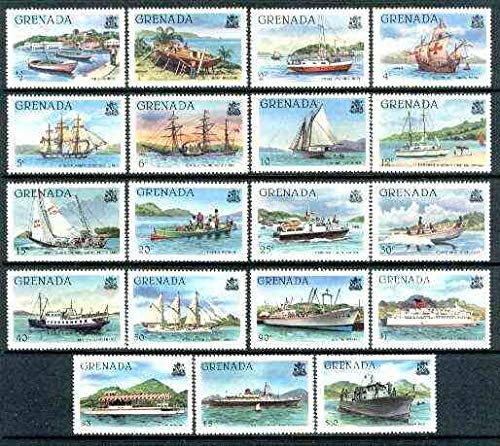 Grenada 1980 Shipping definitive set of 19 values complete (without imprint) u/m SG 1081A-99A* SHIPS COLUMBUS POLICE RUM COAST GUARD FISHING PADDLE STEAMER JandRStamps (14130) -