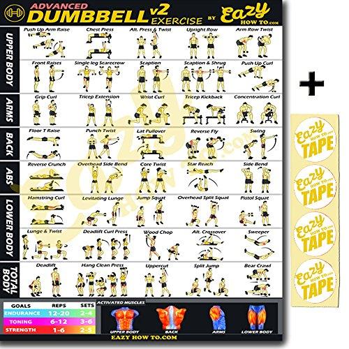 Eazy wie zu Kurzhantel-Set Workout Banner Poster Big 71,1x 50,8cm Zug Ausdauer, Ton, Build Stärke & Muscle Home Gym Diagramm, Advanced - Hantel-Übung Charts
