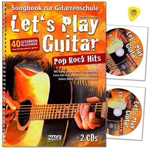 Let's Play Guitar Pop Rock Hits - Songbook zur Gitarrenschule - 40 Gitarren-Klassiker ohne Notenkenntnisse spielen mit 2CDs, Plek - Musikverlag Hage EH3851 4026929917201