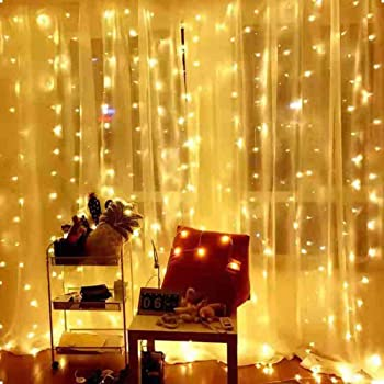 the Kingdom store Plastic Remote 8 Modes 300 LEDs USB Powered Copper Wire Fairy String Curtain Lights (Warm White, 9x9 ft)