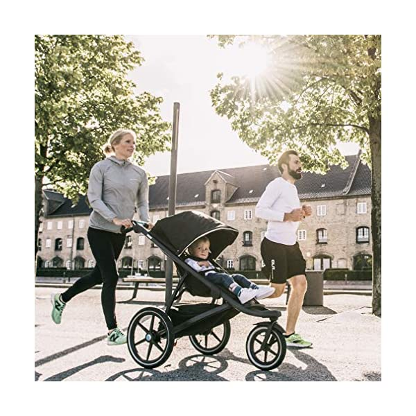 Thule Urban Glide 2.0 Jogging Stroller (Thule Blue w/Silver Frame) Thule One-handed, compact fold for easy storage and transportation Integrated twist hand brake provides speed control on hilly terrain Multi-position canopy with side-ventilation windows ensures your child is comfortable 2