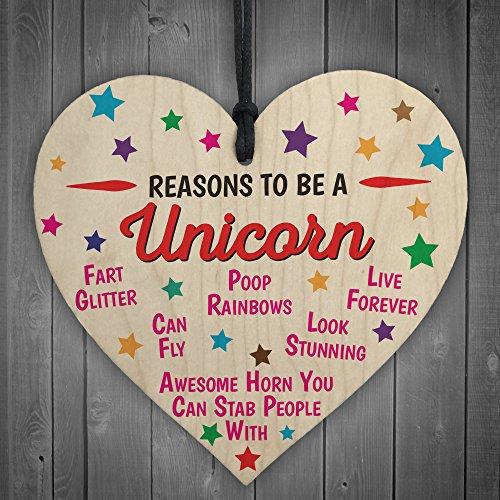 """Ozeanrote """"Reasons to be a Unicorn"""", Neuheit Herz aus Holz zum Aufhängen schickes Freundschafts-Geschenk."""