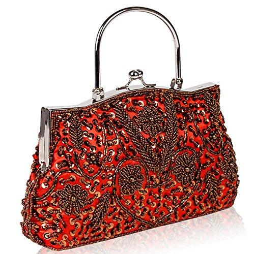 Damen Abendtasche Perlen Pailletten Design Metallrahmen Küssen Schloss Satin Clutch Taschen. 24 X 22 Cm red