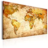 murando - Weltkarte Pinnwand & Leinwand Bild 120x80 cm - 1 Teilig - Wandbilder als Korktafel-Korkwand nutzbar - Leinwandbilder - Wandbilder XXL - Kontinent Landkarte Karte Lernkarte Reise Vintage k-B-0051-v-a