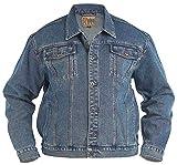 Große Größe Herren Denim Jeans Jacke Duke Trucker London West Steinwäsche Mantel - Stonewashed, King 2XL, Stonewash
