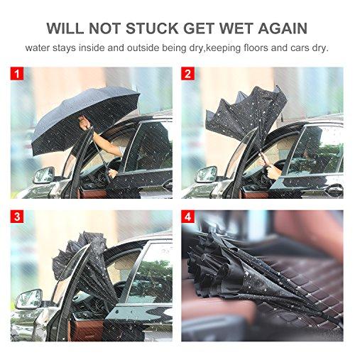 HISEASUN Parapluie Inversé Innovant Anti-UV Double Couche Coupe-Vent Mains Libres poignée en Forme C - Idéal pour Voyage et Voiture(Galaxie noire)