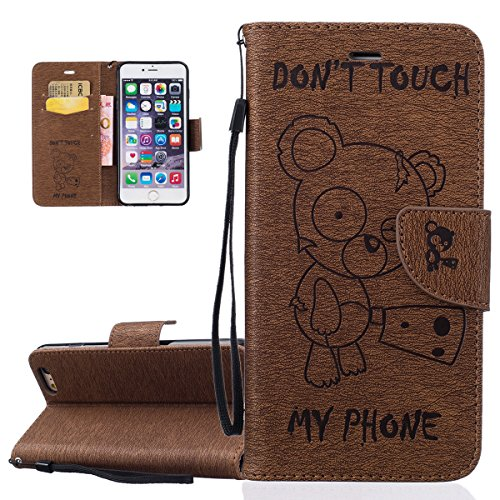 Custodia per Apple iPhone 6 Plus, ISAKEN iPhone 6S Plus Flip Cover, 5.5 inch Custodia con Strap, Elegante Sbalzato Embossed Design in Pelle Sintetica Ecopelle PU Case Cover Protettiva Flip Portafoglio Orso:coffee