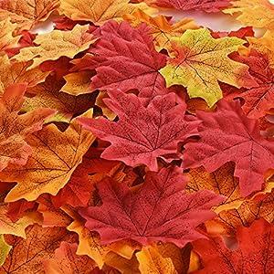 300 Stück Ahorn Blätter Künstliche Ahorn Blätter Autumn Herbst Farbige Blätter für Kunst Scrapbooking Hochzeit Dekorationen Halloween Party Erntedankfest Tag Deko (Mehrfarbig)