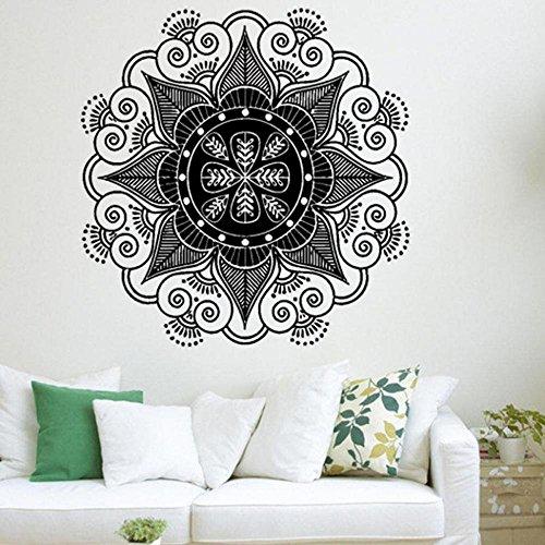 Logobeing Pegatina de Pared de Vinilo Ventana de Vista de Etiqueta Adhesiva Sala de Arte Decal Mural Decoración Para el Hogar(Mandala Flor Indio Dormitorio Pared Calcomanía ) (E)