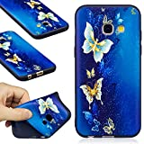 Samsung Galaxy A3 2017 Case, Samsung Galaxy A3 2017 Silicone TPU Transparent Cover, COZY HUT Premium Ultra Slim Thin Silicone Flexible Quality TPU Soft Pattern Design Cute Black Cover, Gel Plastic Protective Shock Absorption Proof Drop Defend Anti Scratch Shell for Samsung Galaxy A3 2017 - blue butterfly