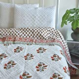 KADAIR BUX RAZAI EMPORIUM SAROJI MUGAL Print Jaipuri RAZAI Cotton Quilt AC Blanket Hand Block Printed Cotton Razai - 60 By 90 Single Bed Razai
