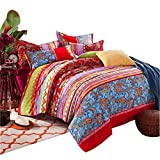 100% Baumwolle Boho Stil Bettbezug Set Bunt Gestreift Betttuch Sets Bohemia Bettwäsche, 155 x 220 cm, 2 x 80 x 80 cm, 4er-Set