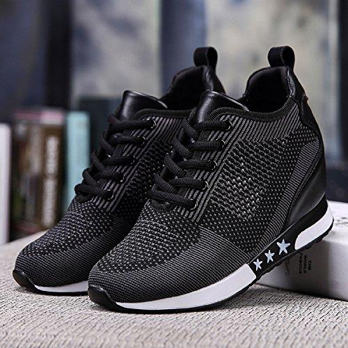 Tqgold Athletic Fitness Chaussures Baskets Intérieur Wedge 8cm Noir