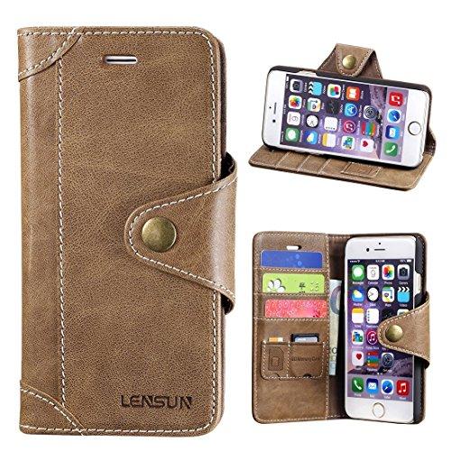 LENSUN iPhone 6 Hülle, Echt Lederhülle Wallet Stand Flip Tasche Handyhülle für iPhone 6 / iPhone 6S Schutzhülle - Kaffeebraun (6G-GT-CE) (Iphone 6 Wallet Schieben)