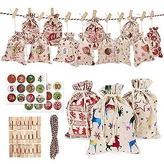 Wokkol Calendario de Adviento, Set de 24 Bolsas de Yute para Rellenar con Calendario de Adviento Casero, Bolsa de Regalo Navidad Decoración Navideña para el Hogar(24 PCS -12 Patrones)