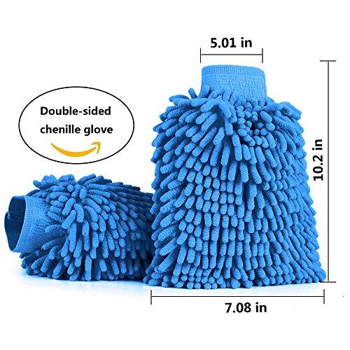 Aodoor (2 pièces) Voiture Wash Mitt, Microfibre chenille car wash mitt gants corail velours absorbant wet/ dry clean, lavage de voiture nettoyage Gant Wash Mitt, 26 cm x 19 cm (Bleu)