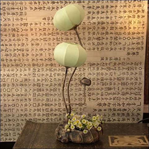 Mulberry Rice Paper Ball Handmade Flower Buds Design Art Shade Green Round Globe Lantern Brown Asian Oriental Decorative Bedside Floral Accent Unusual Uplight Table Floor