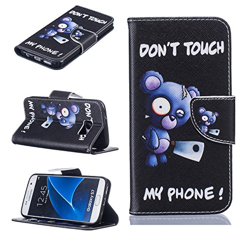 Cozy Hut Schutzhülle / Cover / Hülle / Handyhülle / Etui für Samsung Galaxy S7 Bunt Muster Design Folio PU Leder Tasche Case Cover im Bookstyle mit Standfunktion Kredit Kartenfächer mit Weich TPU Inne Blue Bear