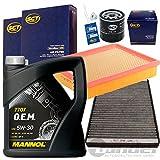Filterset Inspektionspaket 1x 5L Mannol OEM 7707 5W30 Motoroel 1 Filter, Innenraumluft ( mit Aktivkohle ) 1 Verschlussschraube, Oelwanne 1 Oelfilter 1 Luftfilter 1 Oelwechselanhaenger