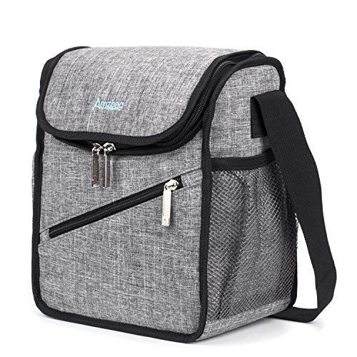 Srotek borsa termica borsa per pranzo formato s/organizzatore per contenitori a tenuta stagna/12 lattine per viaggi/picnic/escursionismo, capacità di 8 l (grigia)