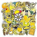 Gelb Aufkleber für Wasserflasche 50 PCS Wasserdicht Vinyl Graffiti Sticker Decals für Teens Mädchen Kinder Ästhetische Laptop Aufkleber für Telefon Hydroflasks Auto Motorrad Fahrrad Skateboard Gepäck