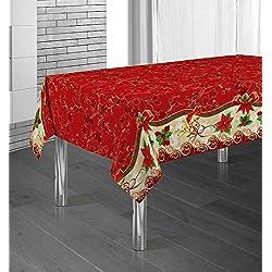 Manteles Red Flower Navidad Pascua estampados antimanchas Colores Primaverales Decoracion Hogar (300 x 150 cm)