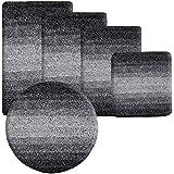 Badematte Ombre schwarz | Hochflor Badteppiche zum Set kombinierbar | verschiedene Größen von der Duschmatte bis zur Wannenvorlage (80x150cm)