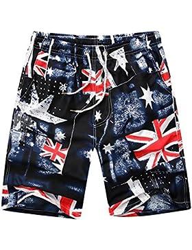 Bañador Hombre Playa Impreso Board Shorts Pantalones Cortos Sueltos de Verano