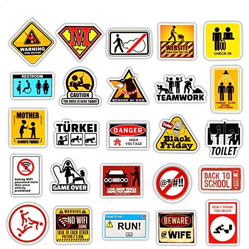 en Stickers Danger Warning Banning Reminder Decor Sticker Für DIY Car Laptop Motorrad-Koffer-Koffer-Fridge Notebook ()