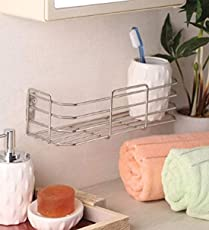 Adbucks Omic Stainless Steel Multi-Purpose Wall Mount Bathroom and Kitchen Rack (4x18-inches)