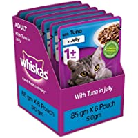 Whiskas Adult (+1 year) Wet Cat Food, Tuna in Jelly, 6 Pouches (6 x 85g)