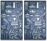 Best-Accessoires4All 2 x Glas Herdabdeckplatte Herdabdeckung Schneidebrett Abdeckplatte für Ceranfeld Design Retro Lovely Kitchen