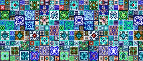 Printodecor - Alfombra Vinílica Impresa, Multicolor (Geométrico Cuadros), 150 x 65 cm
