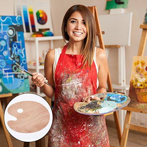 2 Pieces Painting Palettes Wooden Oval Shape Palette Artist Oil Acrylic Painting Palette (30 x 24 cm)