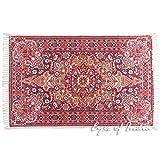 Eyes of India 4 x 6 ft weinrot violett Persisch Indisch orientalischer Aufdruck bedruckt Region Akzent Teppich Antik Klassische