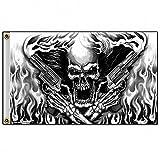 Biker Fahne Skull Flammen Revolver