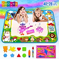 """COOVEE Water Drawing Mat, Magic Aqua Doodle Mats 40"""" X 28"""" Arts Crafts Painting Pad Toys for Toddler Kids Age 2 to 9 Years Old Toddlers"""