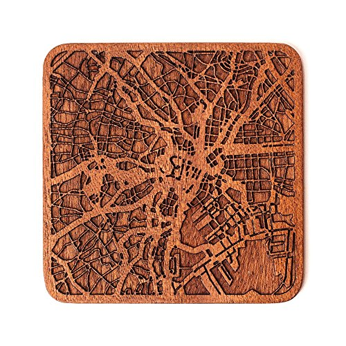 Tokio Stadtplan Untersetzer, One piece, Sapele Wooden Coaster with city map, Multiple city optional, Handmade