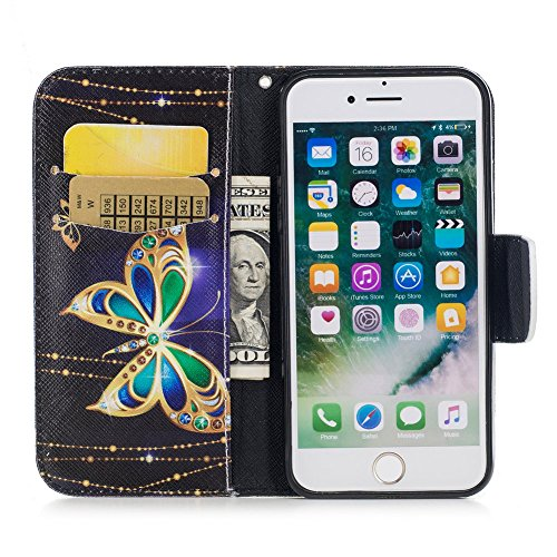 iPhone 7 Flip Handycover, iPhone 7 Bunte Stil Schutzhüllen, Aeeque® Slim Full Body Premium [Standfunktion Kartenfächer] Luxus Glänzend Funkeln Diamant Muster Handy Schutz Hülle Wallet Case Cover Schal Luxus Gold Schmetterling