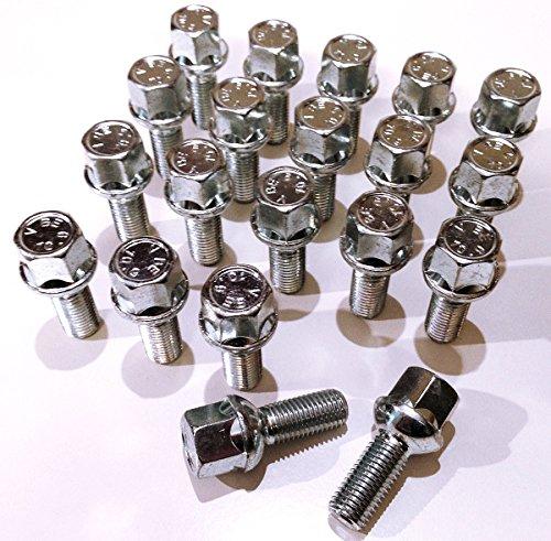 Boulons de roue en alliage, plaqué zinc M12 x 1,5 (M12 x 1,5) Radius Seat, 17 mm hexagonale, 26 mm Longueur du filetage. Lot de 20 boulons de roue (Au001)