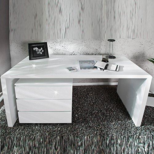 MODERNER DESIGN SCHREIBTISCH 'HELSINKI' holztisch bürotisch 120 cm hochglanz weiß
