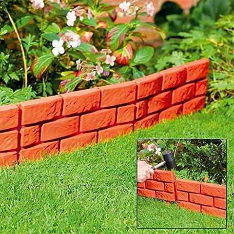 32x Terrakotta sofort Brick Effekt Hammer in Garten Rasenkante Pflanze Bordüre (Brick Rasenkanten)