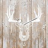 Wanduhr aus Glas, Deer Head on Wood, Hirschkopf auf Holz, hellbraun, 30x30 cm von Eurographics