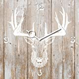 Eurographics Wanduhr aus Glas, Deer Head on Wood, Hirschkopf auf Holz, Hellbraun, 30x30 cm