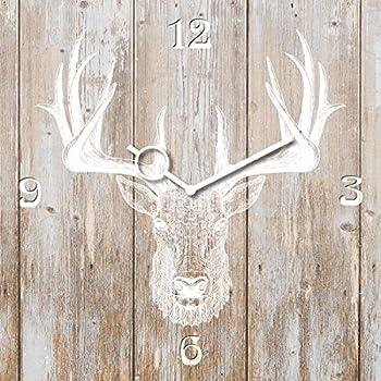 Wanduhr aus Holz mit Hirsch-Motiv in Grau - 28cm rund
