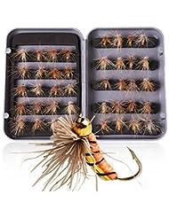 Xunma Lot de 40 mouches de type nymphes à tête dorée pour la pêche à la truite, livrées dans une boîte