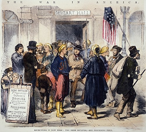 The Poster Corp Civil War Recruiting. /Nthe Recruiting Station On Broadway for Duryee'S Zouaves 5Th New York Volunteer Regiment. Wood Engraving 1862. Kunstdruck (45,72 x 60,96 cm)