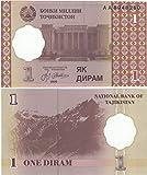 Stampbank Coleccionables Mundial de Tecnología - Banco de Tayikistán 1 Diram de Billetes Crujiente...